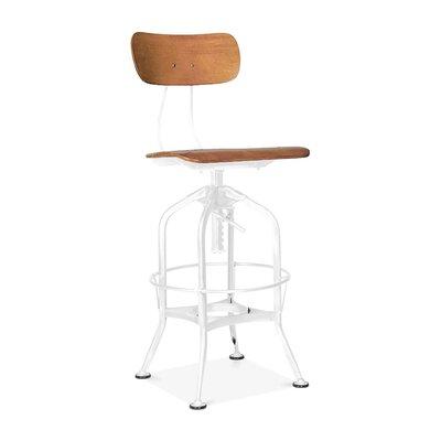 Desrochers Back Adjustable Height Swivel Bar Stool Color: Natural White