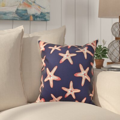 Cedarville Soft Starfish Geometric Print Throw Pillow Size: 16 H x 16 W, Color: Navy Blue/Coral