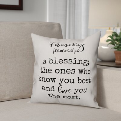Alva Family Definition Throw Pillow Size: 18 x 18, Type: Pillow Cover