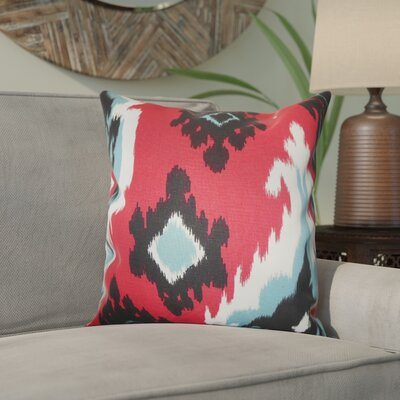 Emmitt Ikat Cotton Throw Pillow Color: Red, Size: 18 H x 18 W