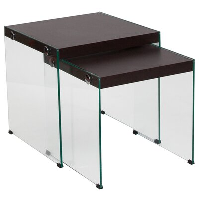 Nauman 2 Piece Nesting Tables Table Top Color: Dark Ash