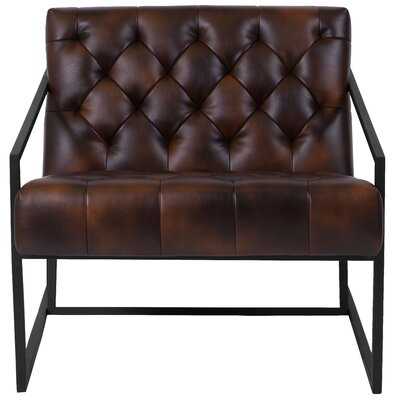 Janney Leather Tufted Lounge Chair Seat Color: Brown