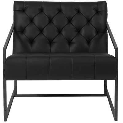 Janney Leather Tufted Lounge Chair Seat Color: Black