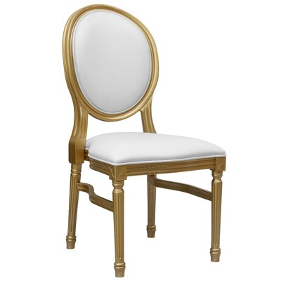 Komar Upholstered Dining Chair Upholstery Color: White, Frame Color: Gold