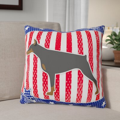 Patriotic Blue/Red Modern Indoor/Outdoor Throw Pillow Size: 18 H x 18 W x 3 D