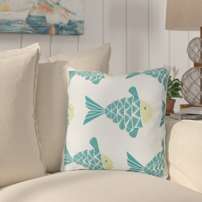 Grand Ridge Fish Tales Coastal Throw Pillow Size: 18 H x 18 W, Color: Teal
