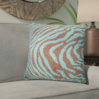 Kathy Zebra Print Throw Pillow Color: Blue