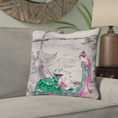 Enya Japanese Courtesan Cotton Throw Pillow Color: Green, Size: 20 x 20