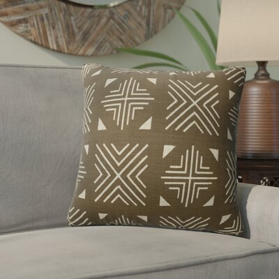 Bemelle Mud Cloth Throw Pillow Size: 18 H x 18 W, Color: Brown/ Ivory