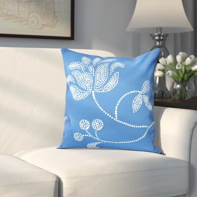 Maniteau Floral Bloom Outdoor Throw Pillow Size: 18 H x 18 W, Color: Navy Blue