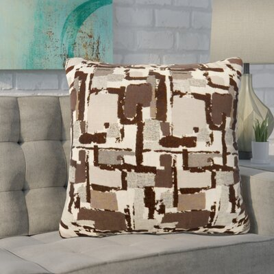 Shuff Mosaic Print Throw Pillow Color: Brown, Size: Large