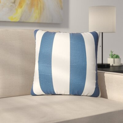 Strauser Stripes Cotton Throw Pillow Color: Navy