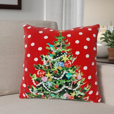 Festive Christmas Tree Throw Pillow Size: 18 x 18