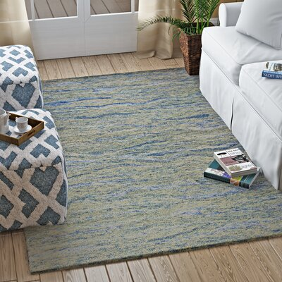 Bonaparte Hand-Tufted Ocean Wool Blue Area Rug Rug Size: 86 x 116