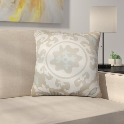 Stukes Floral Cotton Throw Pillow Color: Blue