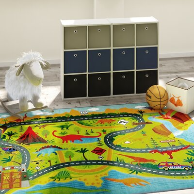 Weranna Dinosaur Dino Safari Road Map Educational Learning Green/Blue Indoor/Outdoor Area Rug Rug Size: 33 x 47