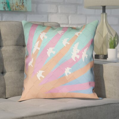 Enciso Birds and Sun Zipper Pillow Cover Size: 18 H x 18 W, Color: Orange/Pink/Blue Ombre