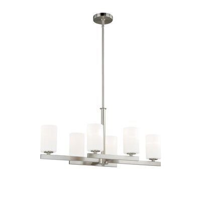 Listermann 6-Light Shaded Chandelier Finish: Satin Nickel