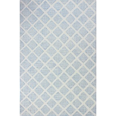 Caufield Hand-Tufted Wool Ivory/Blue Area Rug Rug Size: Rectangle 76 x 96