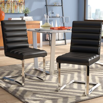 Destan Contemporary Side Chair Upholstery: Black