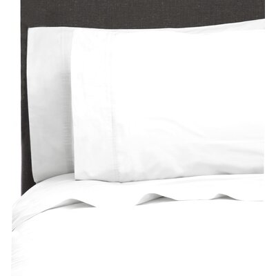 Ealing Pleat Hem 300 Thread Count Percale Sheet Set Size: California King, Color: Bright White