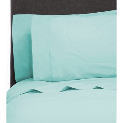 Ealing Pleat Hem 300 Thread Count Percale Sheet Set Size: California King, Color: Bleach Aqua
