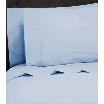 Ealing Pleat Hem 300 Thread Count Percale Sheet Set Size: Full, Color: Bay Blue