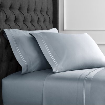 Crose Border Embroidered 600 Thread Count 100% Cotton Sheet Set Size: King, Color: Blue