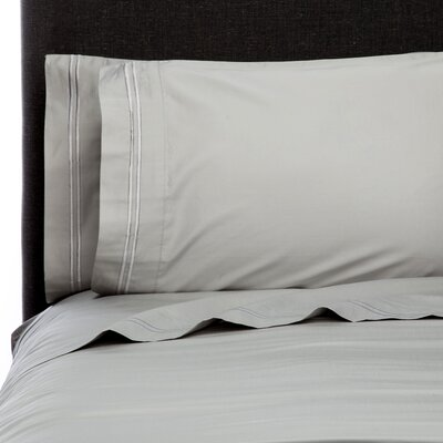 Crose Border Embroidered 600 Thread Count 100% Cotton Sheet Set Size: Twin, Color: Silver
