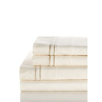 Crose Border Embroidered 600 Thread Count 100% Cotton Sheet Set Size: Queen, Color: Ivory