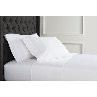 Crossman Hemstitch 600 Thread Count 100% Cotton Sheet Set Size: Twin, Color: White