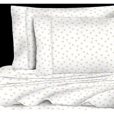 Quesinberry Chic Floral 400 Thread Count 100% Cotton Sheet Set Size: Full, Color: Pink