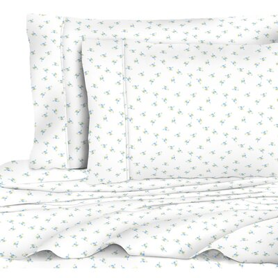 Quesinberry Chic Floral 400 Thread Count 100% Cotton Sheet Set Size: Twin, Color: Blue