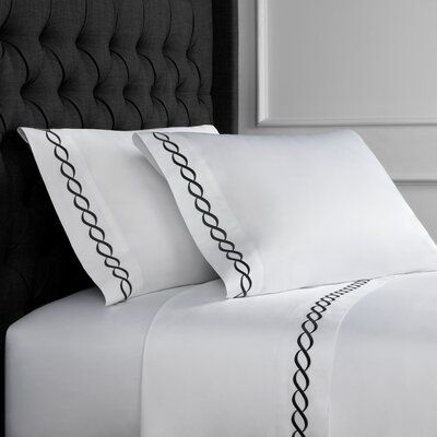 Crosslin Rope Embroidered 600 Thread Count 100% Cotton Sheet Set Size: King, Color: Black