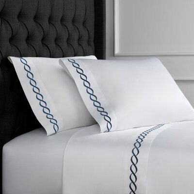 Crosslin Rope Embroidered 600 Thread Count 100% Cotton Sheet Set Size: King, Color: Navy
