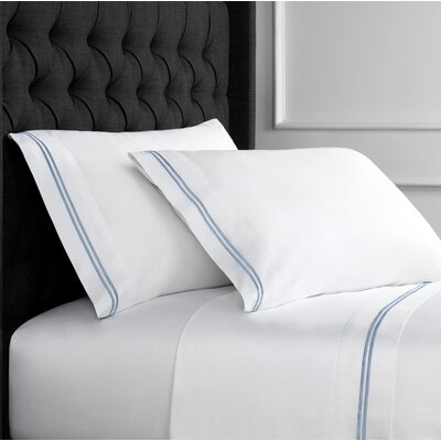 Drakeford Embroidered 600 Thread Count Sheet Set Size: Full, Color: Blue
