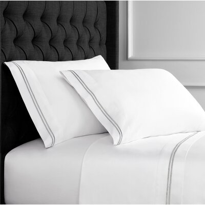 Dimaggio Stripe Embroidered Pillow Case Size: King, Color: White/Gray