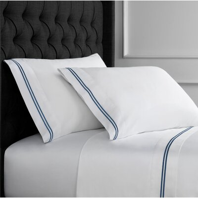 Drakeford Embroidered 600 Thread Count Sheet Set Size: Twin, Color: Navy