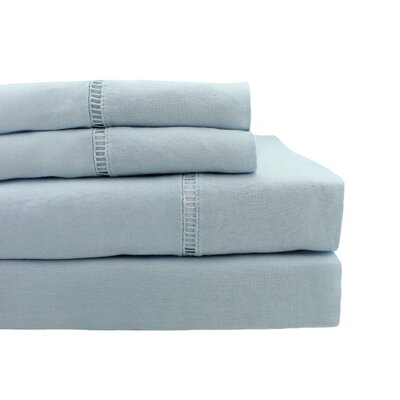 Dahmen Ladder Hem Sheet Set Size: King, Color: Light Gray