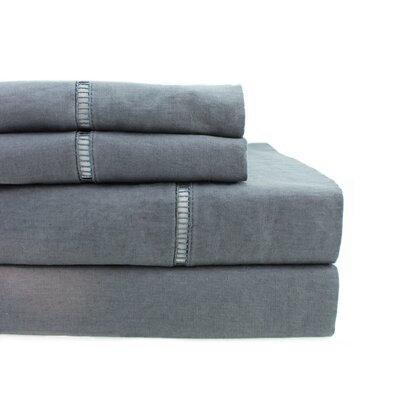 Dahmen Ladder Hem Sheet Set Size: King, Color: Dark Gray