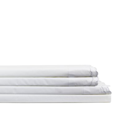 Cambell Double Scalloped Embroidered 300 Thread Count Percale Sheet Set Size: Full, Color: White/ White