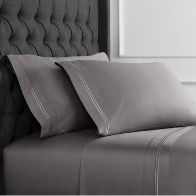 Crose Border Embroidered 600 Thread Count 100% Cotton Sheet Set Size: King, Color: Charcoal