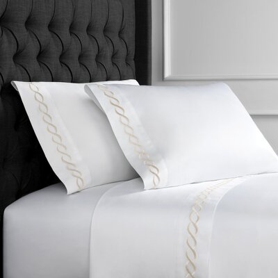 Crosslin Rope Embroidered 600 Thread Count 100% Cotton Sheet Set Size: Queen, Color: Ivory