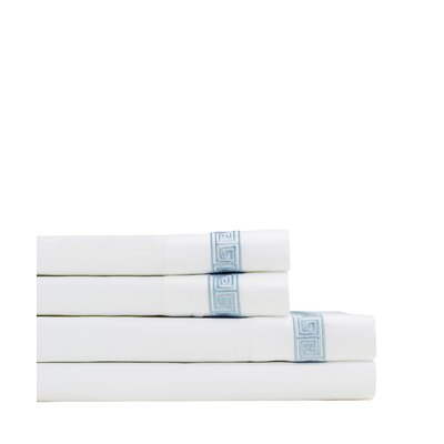 Kolton Embroidered 600 Thread Count Sheet Set Size: Full, Color: Blue