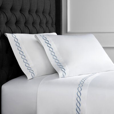 Crosslin Rope Embroidered 600 Thread Count 100% Cotton Sheet Set Size: Full, Color: Blue