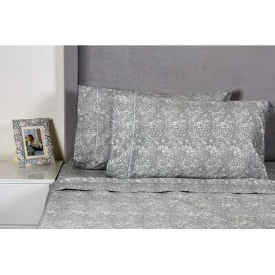 Quesada Lace 400 Thread Count 100% Cotton Sheet Set Size: Twin, Color: Silver