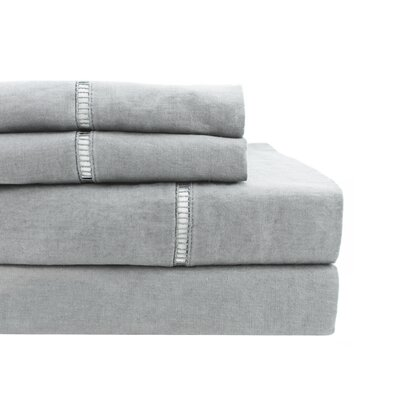 Dahmen Ladder Hem Sheet Set Size: King, Color: Gray