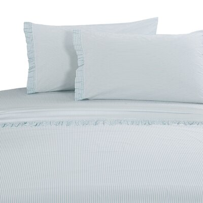 Faircloth Gingham Ruffle 300 Thread Count 100% Cotton Sheet Set Size: Full, Color: Aqua