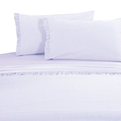 Faircloth Gingham Ruffle 300 Thread Count 100% Cotton Sheet Set Size: Queen, Color: Lavender