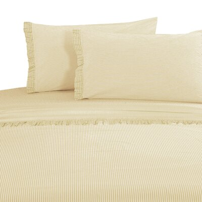 Faircloth Gingham Ruffle 300 Thread Count 100% Cotton Sheet Set Size: Full, Color: Natural Wheat